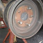 3. Install brake drum backwards and install lug nuts a couple turns.