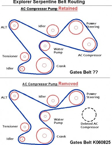 explorer 5 0 serpentine accessory drive belt conversion diagram showing the belt routing