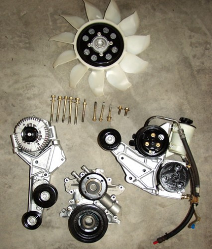 Collection of all the main factory parts that you will need in order to convert your Bronco to the Explorer serpentine belt drive system. Note: some years of Explorers came equipped with a steel fan, which is also suitable for this conversion.